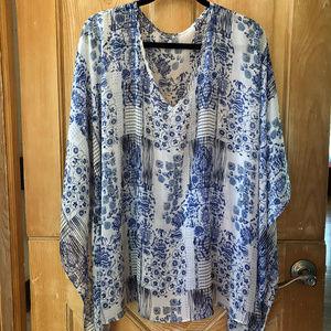 Blue & White Printed Sheer Overshirt 3/4X